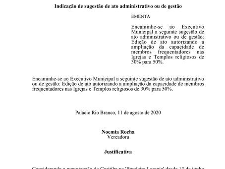 Edição de ato autorizando a ampliação da capacidade de membros frequentadores nos Templos religiosos