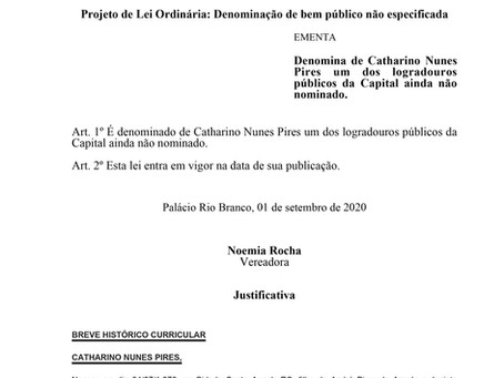 Denomina de Catharino Nunes Pires um dos logradouros públicos da Capital