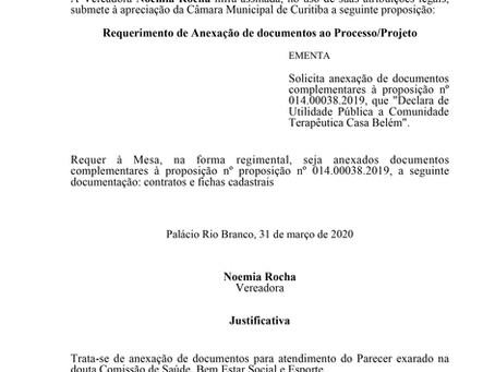 Anexação de documentos complementares à proposição nº 014.00038.2019