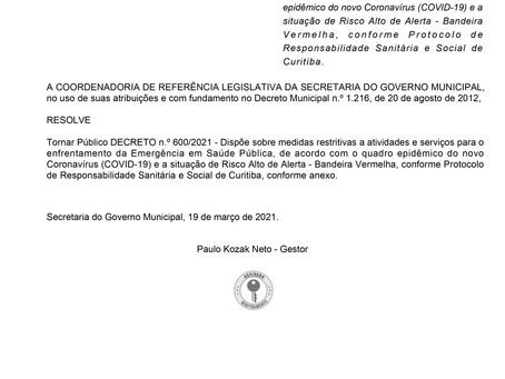Sob bandeira vermelha, Curitiba mantém restrições contra a covid-19 até 28/3