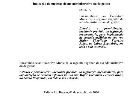 Implantação de camada asfáltica na sua rua Major Theolindo Ferreira Ribas
