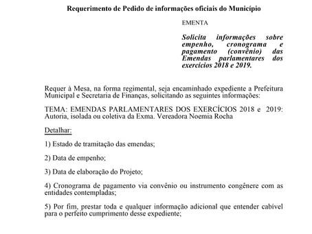 Informações sobre empenho, cronograma e pagamento (convênio) das Emendas parlamentares
