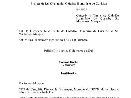 Cidadão Honorário de Curitiba - Sr. Markenson Marques