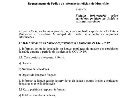 Solicita informações sobre servidores públicos da Saúde e assuntos correlatos