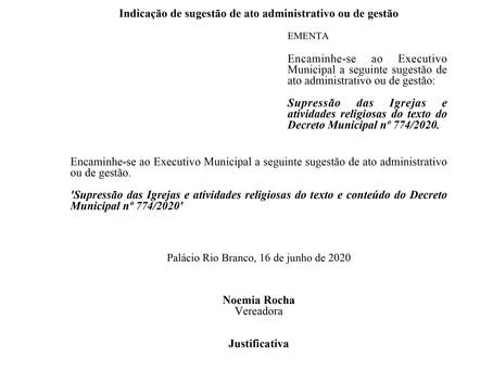 Supressão das Igrejas e atividades religiosas do texto do Decreto Municipal nº 774/2020.