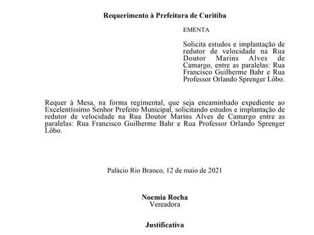Implantação de redutor de velocidade na Rua Doutor Marins Alves de Camargo