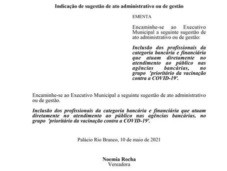 Inclusão dos profissionais da categoria bancária e financiária no grupo prioritário da vacinação