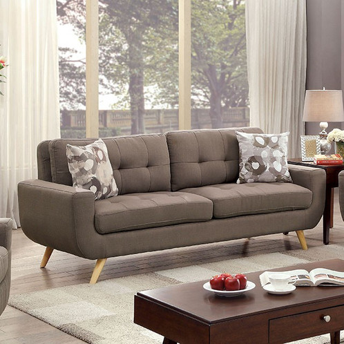 Modern Design Takes On A Casual Feel With This Attractive Sofa Set Sleek Box Cushions Boast Soft Fabric Upholstery And Tufted For Clean