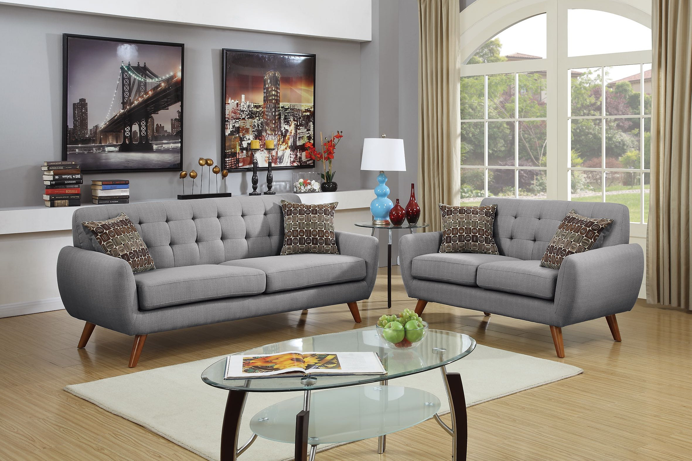 Impress Upon Your Guest With This Magnificently Constructed 2 Piece Sofa Set That Features A Bold Designed Accent Tufting On The Low Back Support And