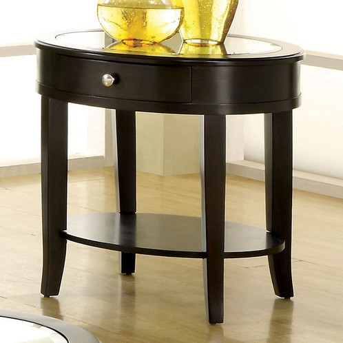 each table has a beveled mirror glass table top and are accented with silver hardware