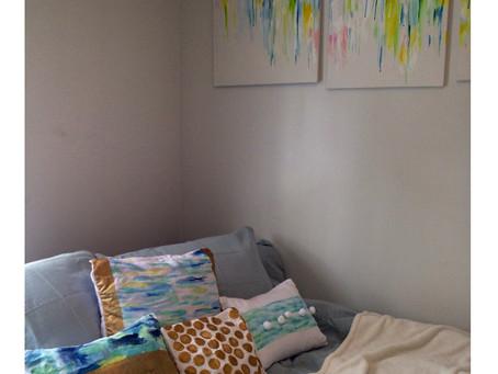 DIY Pillows: Paint, Polka Dots & Poms