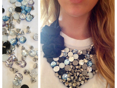Studs and Gems Bib Necklace