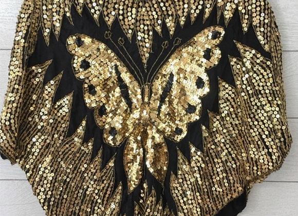 Vintage black/gold sequin top
