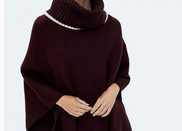 Zara black turtleneck cape shawl