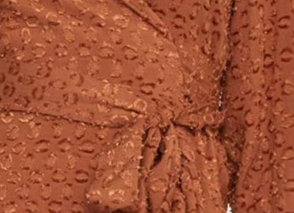BCBG clip dot peplum tie front wrap blouse