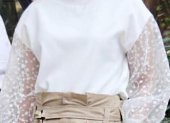Zara white floral sleeve top
