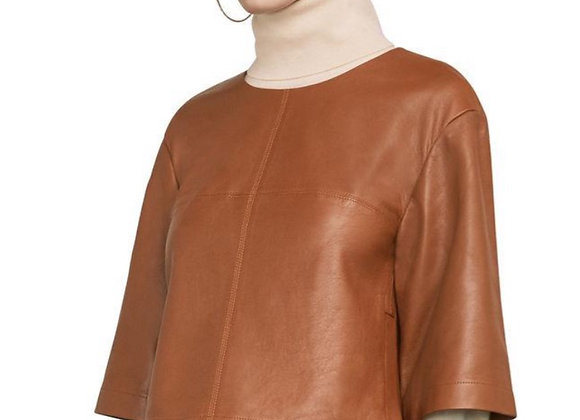 "BCBG Cognac ""Jasey"" Leather Crop Top"