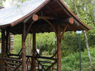 Adirondack log covered walkway