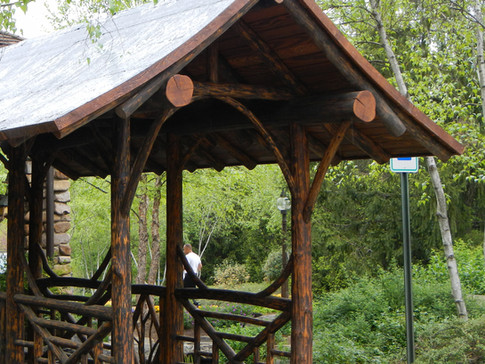 Adirondack log covered walkway