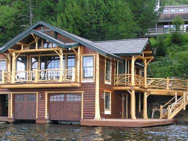 Cliff Side Adirondack boathouse