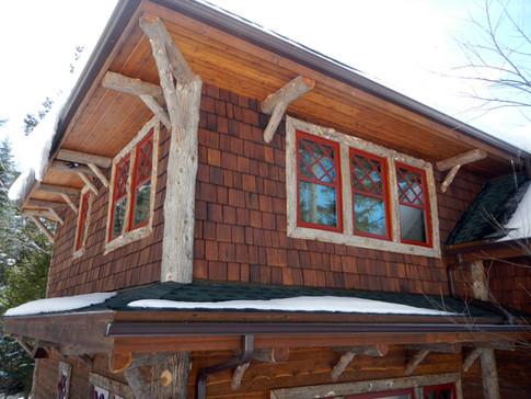Adirondack home log trim