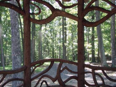 Adirondack log screened porch
