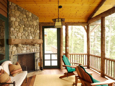 Adirondack porch outdoor fireplace