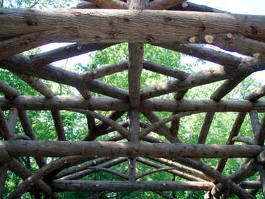 Adirondack log pergola