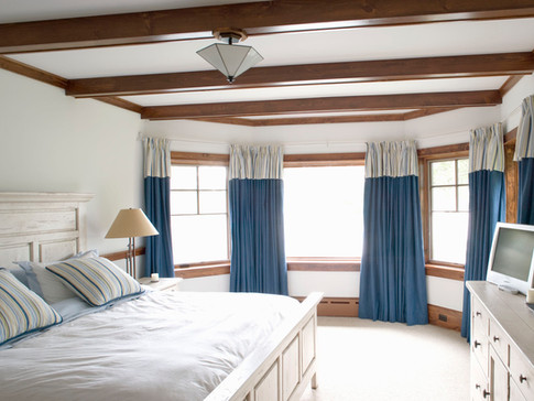 Adirondack bedroom coffered ceiling