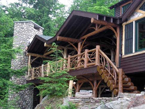 Adirondack log porch