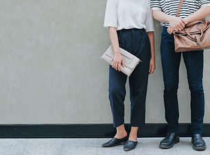 A couple in street style fashion clothes