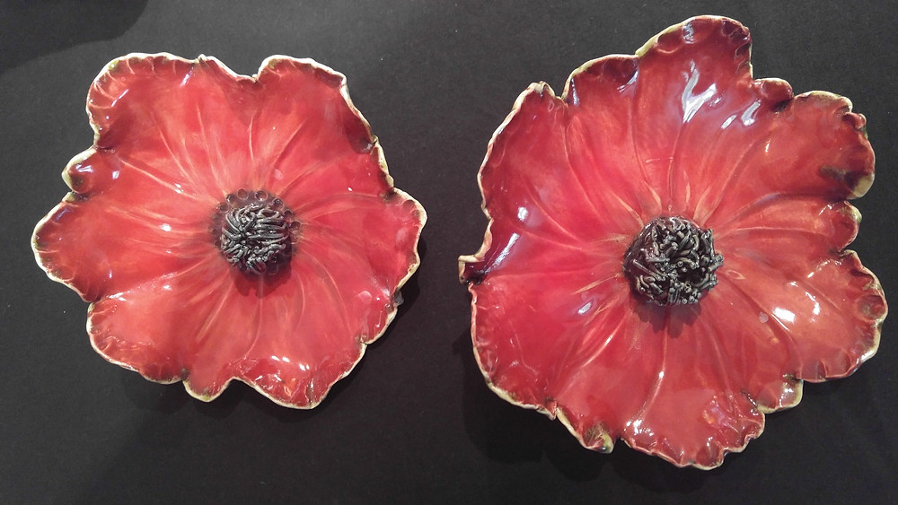 Hand crafted pottery, Red Poppy Flower, gifts, McKenzie Botanicals