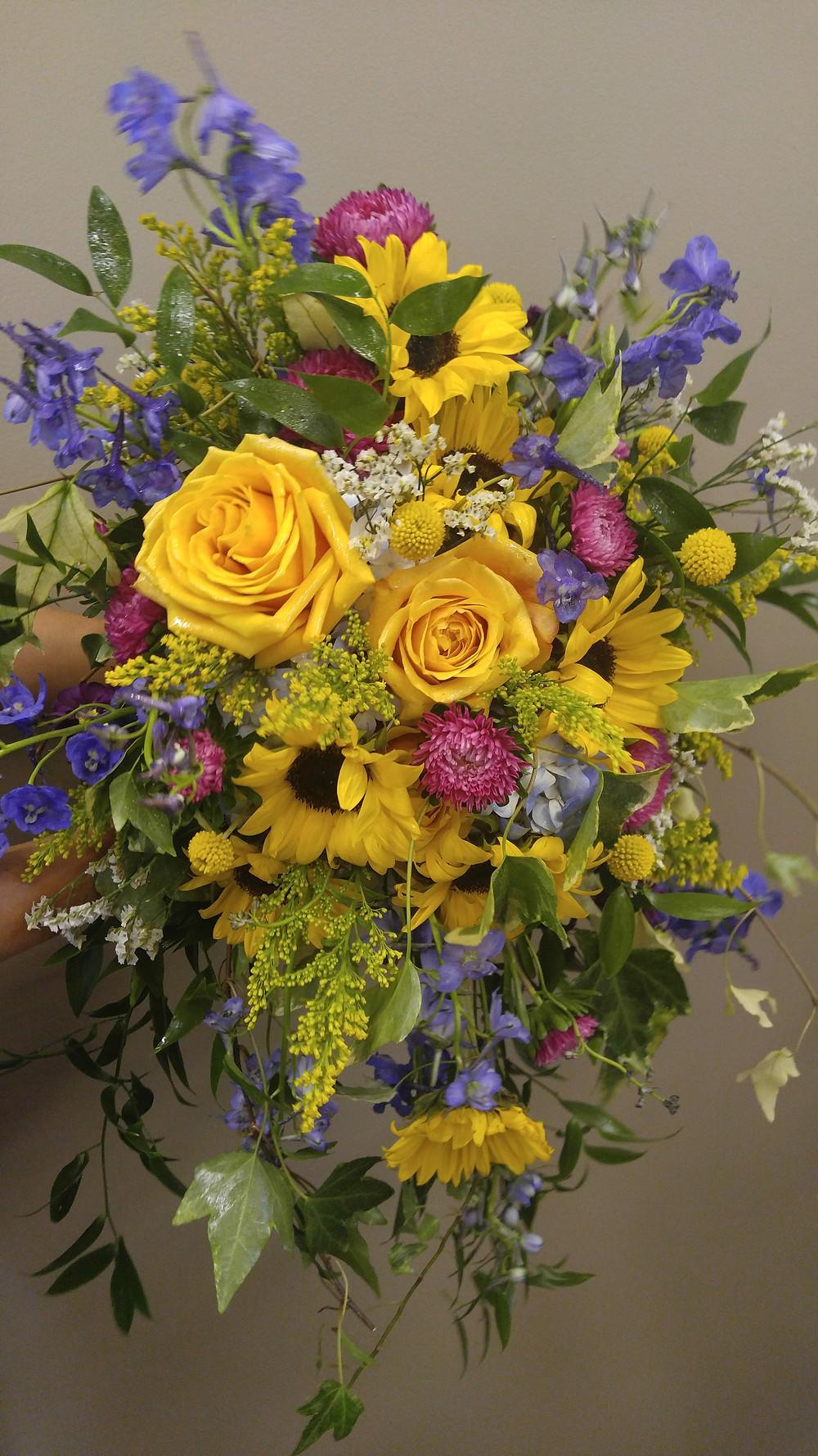 Summer Wedding Bouquet, Cascading Bouquet, Colorful bouquet