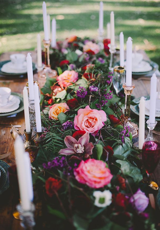 full floral garland, garland table scape, Lush garland centerpiece