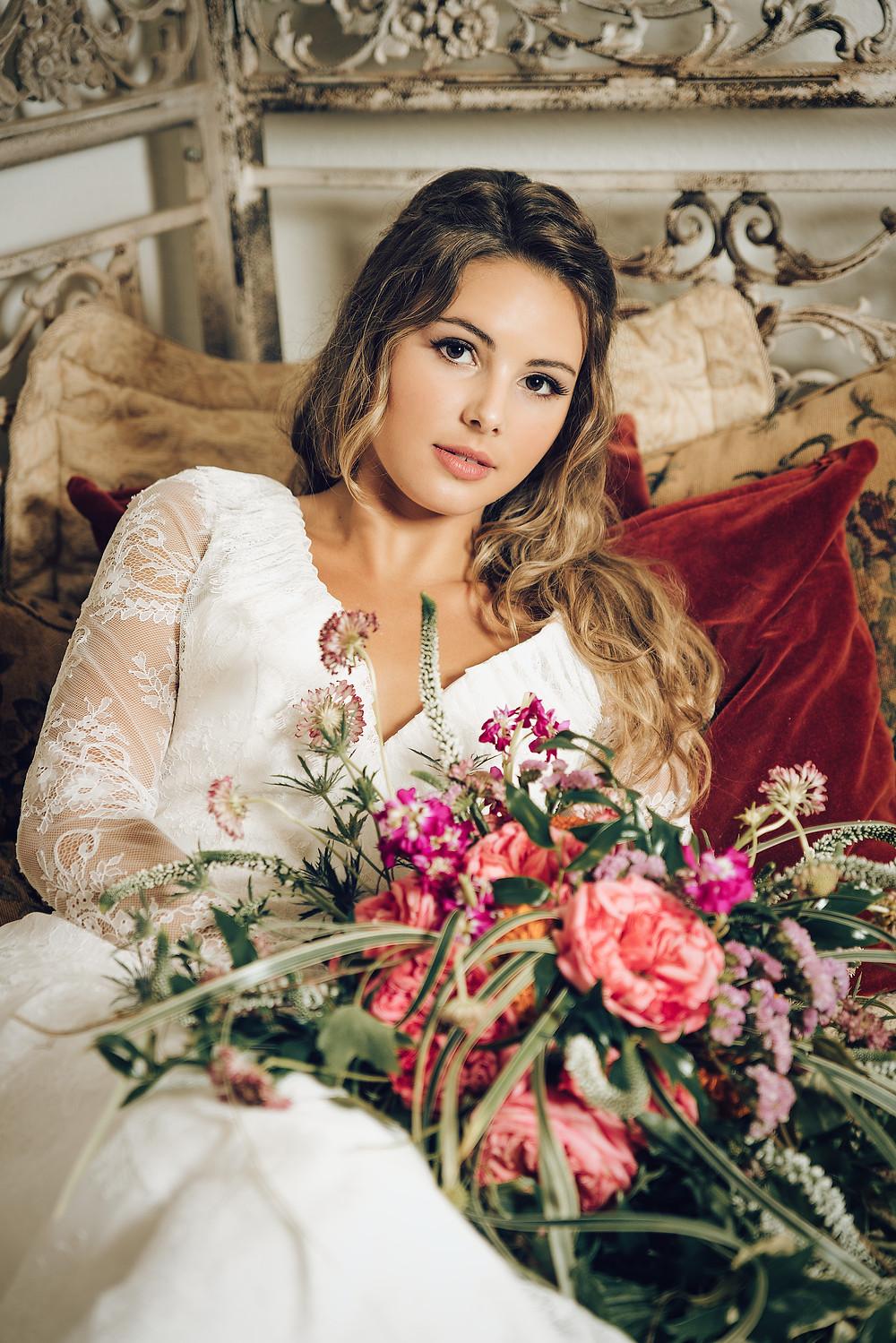 staged photo shoot, elopement venue, wedding florals