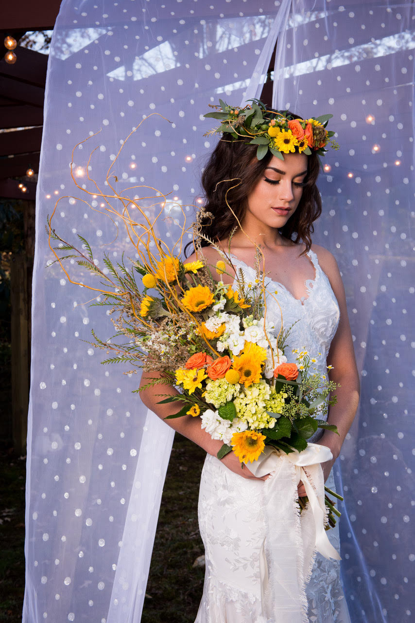 Floral halo, Laurel, Rustic wedding bouquet, staged photo shoot, Simple-I-Do's