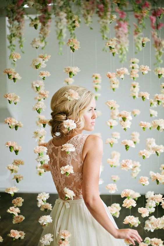 cascading carnations, Floral backdrops, floral installations