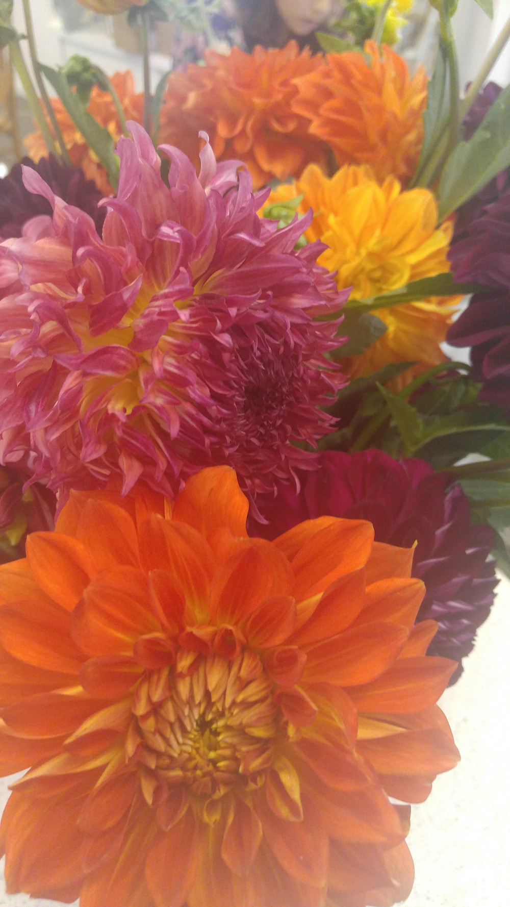 Locally grown, dahlias. go local, buy small, Eco - friendly