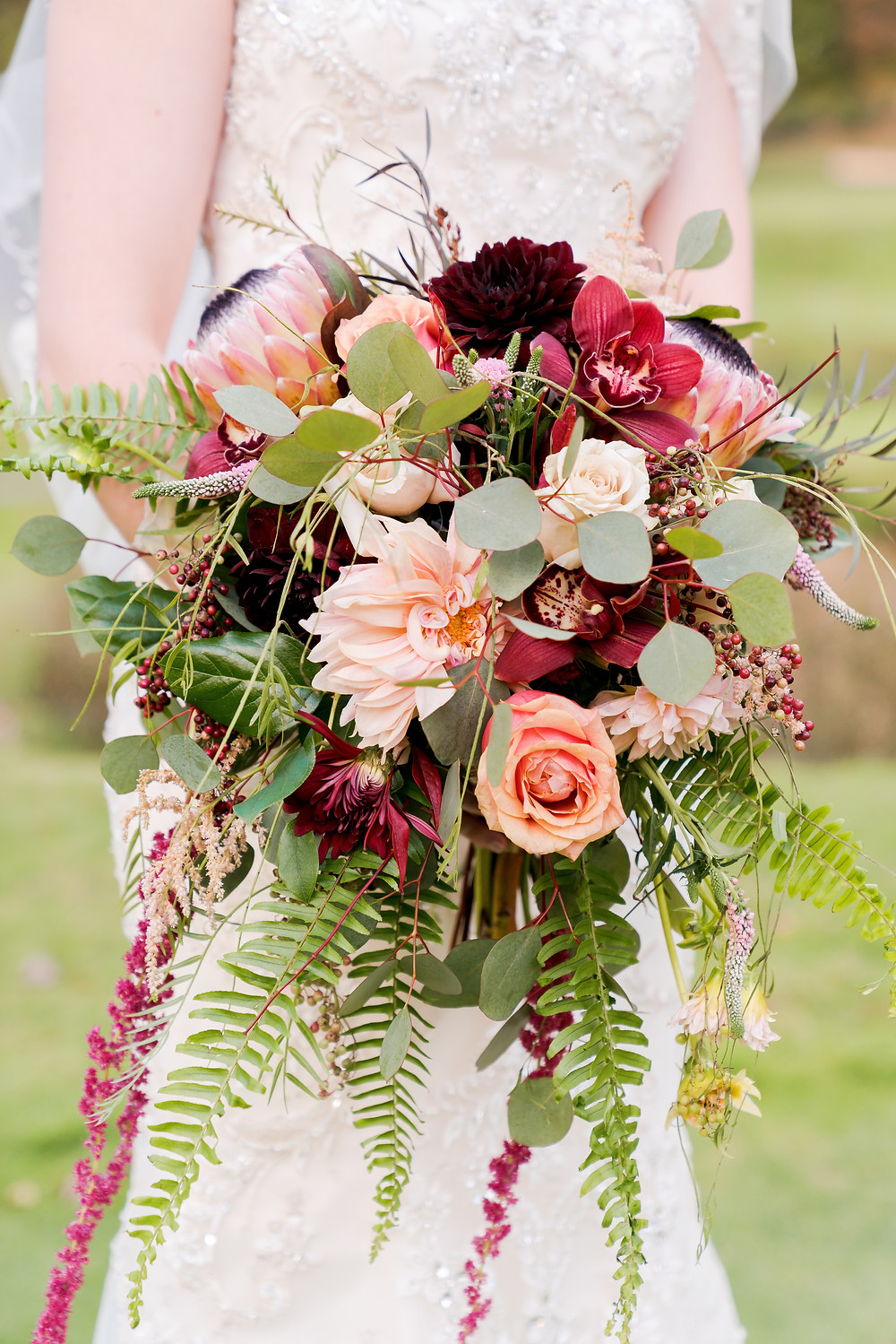 Fall Wedding , Cascading bouquet, Rustic- Chic Wedding