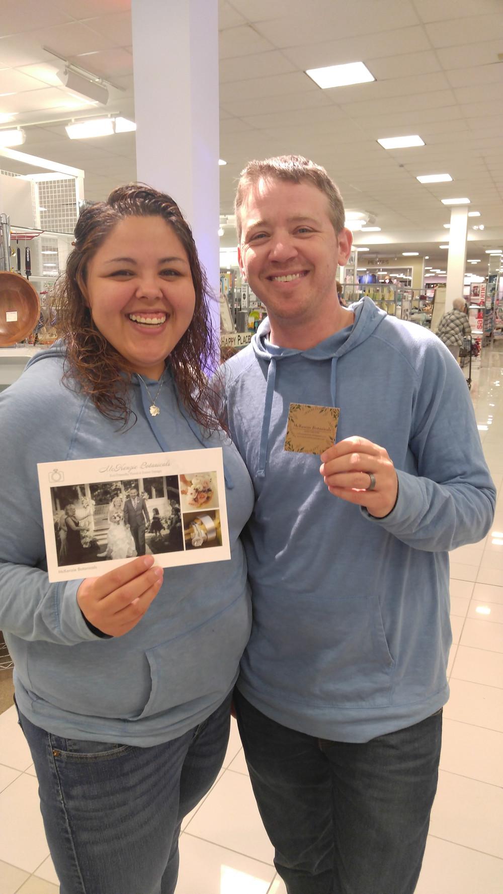 Happy,  Engaged Couple, McKenzie Botanicals, Wedding Show