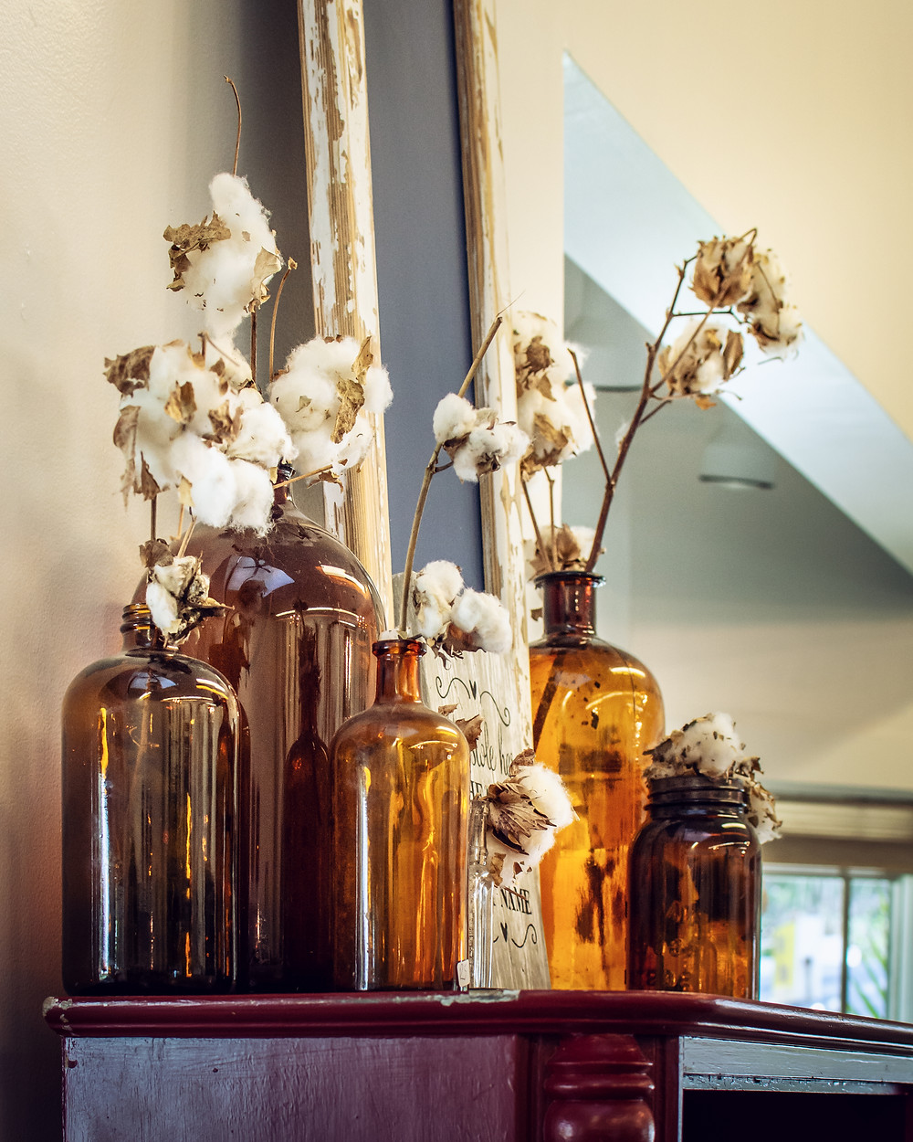 Vintage bottle centerpieces, Growler Centerpieces, Beer Bottle Bud Vases