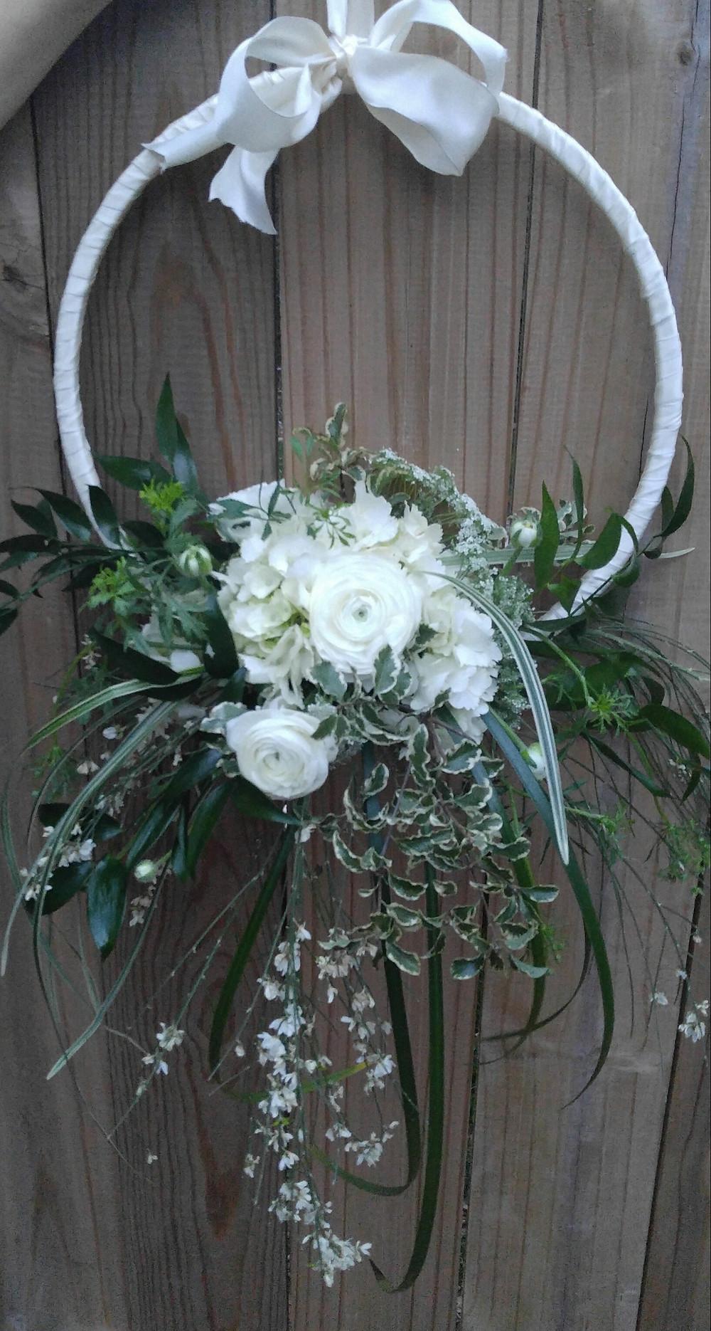 Hoop Bouquet, McKenzie Botanicals, Hanging flowers, Belk Engagement Party