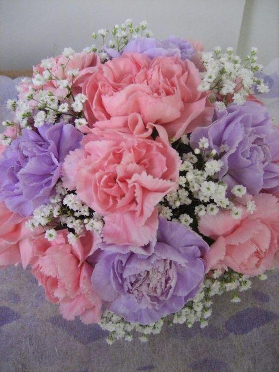 Mini Carnations, babies breath, Flowers, wedding , bouquet