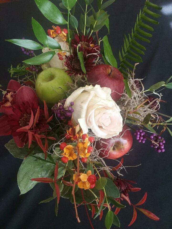 donated bridal flowers, week old bridal flowers, fruit centerpieces, fall centerpieces