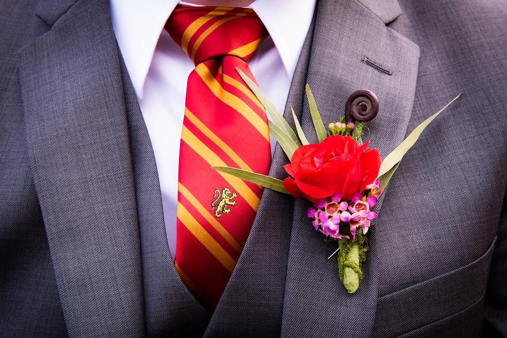 Harry Potter Themed Wedding, Eco-friendly flowers, Boutonniere, McKenzie Botanicals