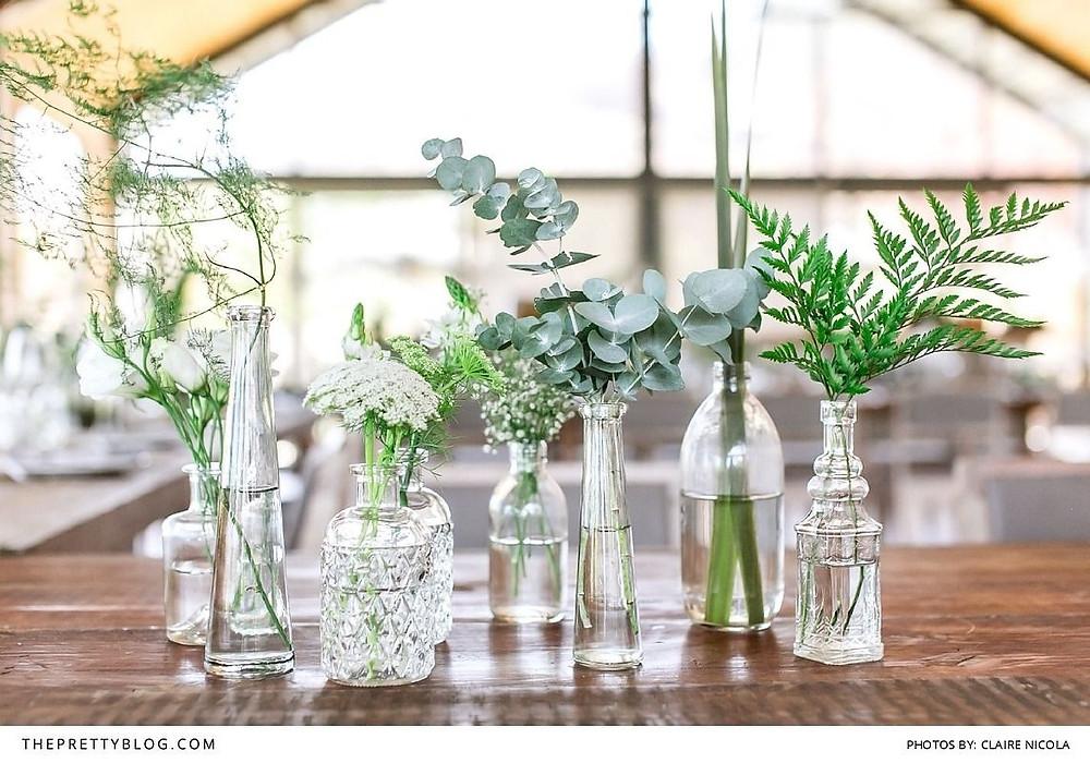 Botanical Bud vases, Foliage centerpieces, Greenery centerpieces