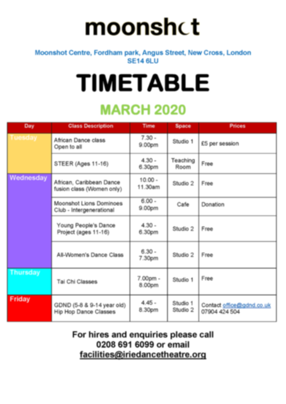 Moonshot Centre Activities Timetable_Mar