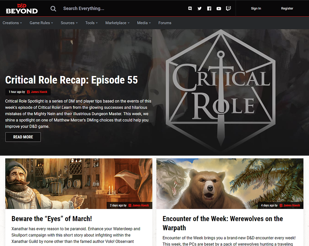 A screenshot taken from the D&D Beyond homepage that shows a sampling of articles they have.