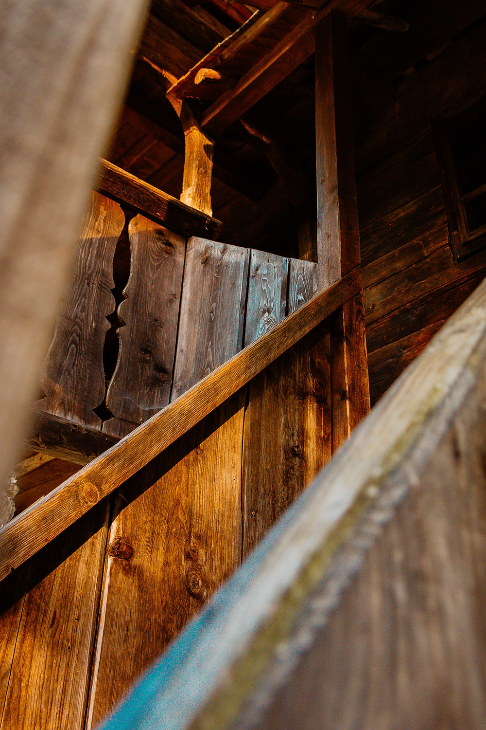 Wooden tavern stairs and bannister