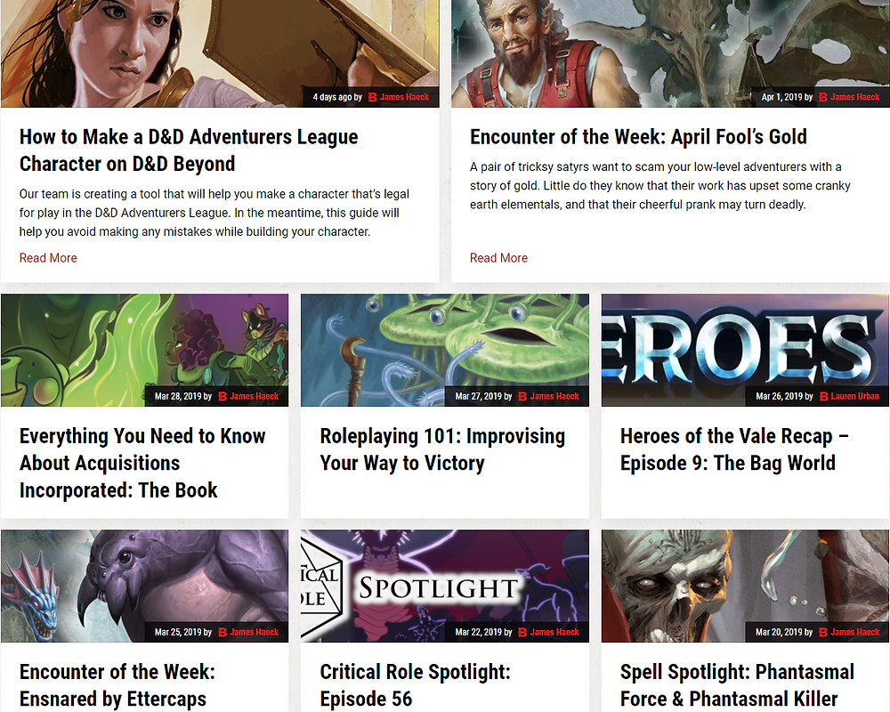 A screen shot of some of the various articles available on D&D Beyond's website.
